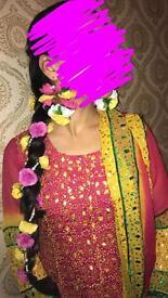 hot pink and yellow Churidar gota patti