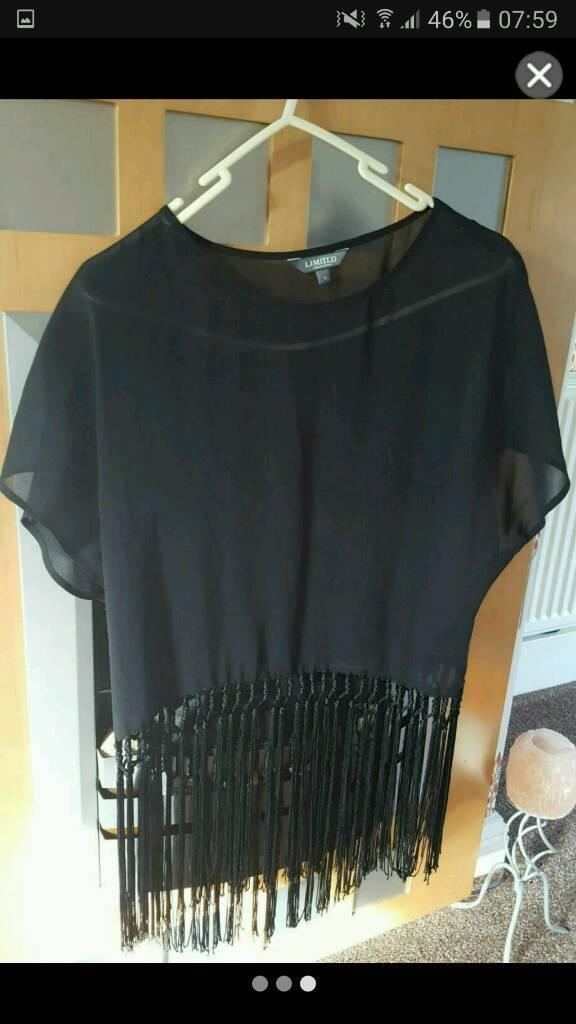 Gorgeous boho festival party top blouse shirt seethrough fringe tassle uk 10