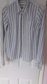 Abercrombie & Fitch stretch long sleeved shirt. Size small. Grey/ White stripped.