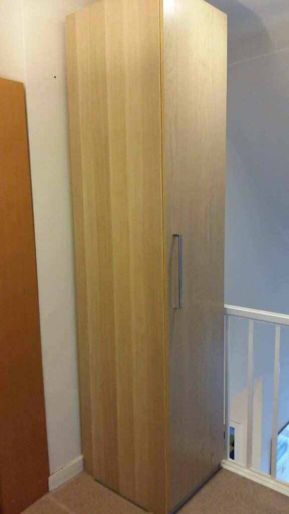 Ikea Pax White Stained Oak Effect Wardrobe Single With Interior Shelves And Drawers In
