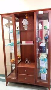 Armoire vitrée curio mobilier bois acajou
