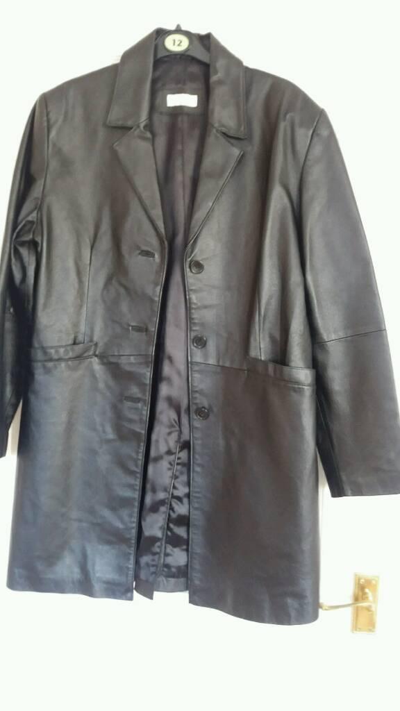 Ladies black leather coat size 12