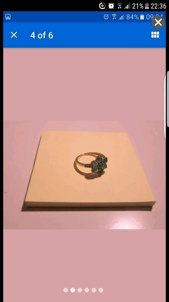 Diamond and cabochon emerald 9ct gold