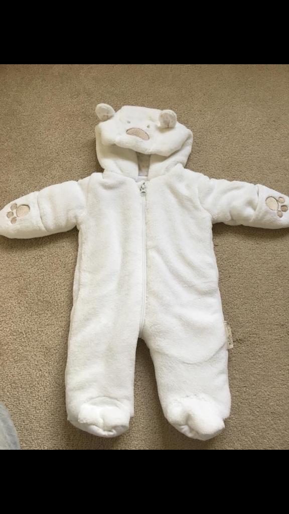 fb2de59b2b39 Nutmeg white bear snowsuit - newborn