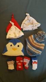 6 baby hats 0-6 months 4 pairs of socks