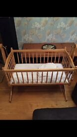 Wooden baby crib with mattress & sheets