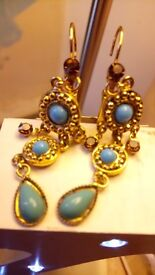 Vintage drop gemstones earrings