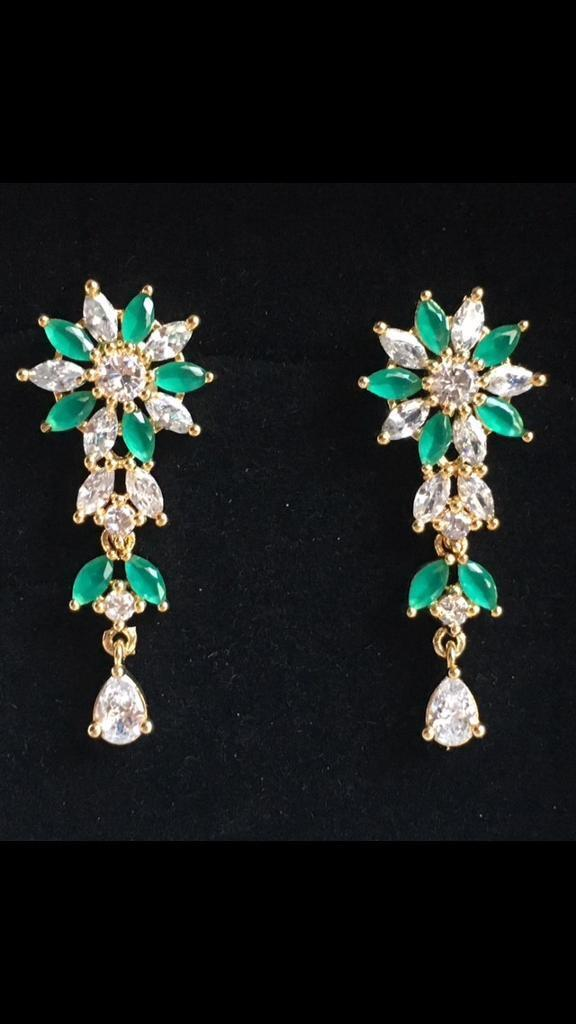 Brand new beautiful flower earrings with green and white stones ...