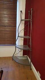 Metalwork and glass shelf corner display unit