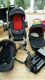 Graco symbio travel system stroller carrycot car seat and isofix base