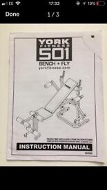 York 501 Weight Bench with fly