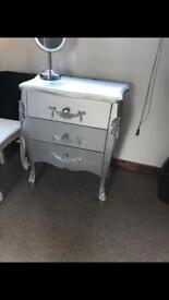 Grey silver diamante toulouse chest of three drawers