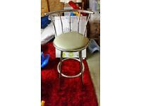 """Metal frame cream leather bar stools"""