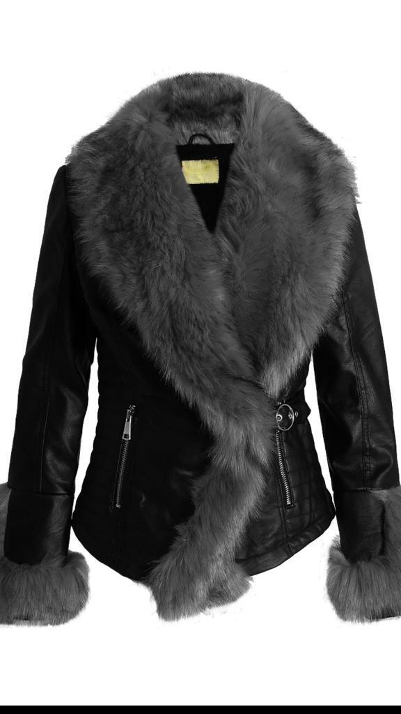 Faux fur and faux leather jacket £65
