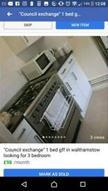 Council exchange wanted 1 bed for 3 bed