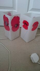 Glass Poppy designer bedside lamps