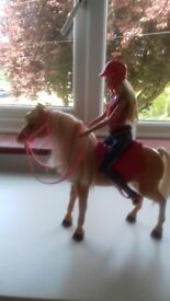 Barbie doll and Posable Horse