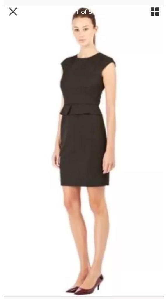 Warehouse workwear black piped dress size 16 RRP £70