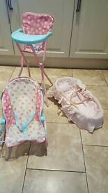 Dolls high chair, moses basket and rocker chair