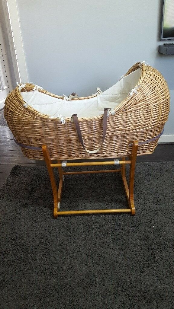 Mothercare apples and pears moses basket with stand and mattress