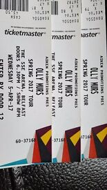 3 Olly Murs tickets for Wed 5th Apr 2017 only looking what i paid for the 130