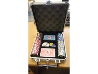 Poker set, cards, chips, metal case and instructional DVD - Great Gift
