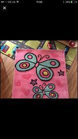 Girls butterfly rug BRAND NEW