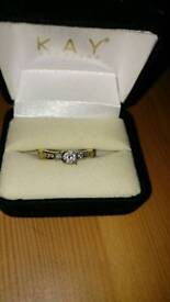 Solitaire Diamond and 14 ct gold wedding and engagement ring