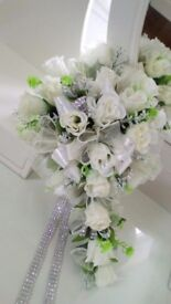 Unused sparkly ivory wedding flowers