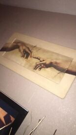 Large Michelangelo Hand of God picture solid wood and very heavy would suit a feature wall x