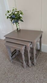 Nest of 3 wooden tables, Shabby Chic, Hand Painted in Annie Sloan chalk paint