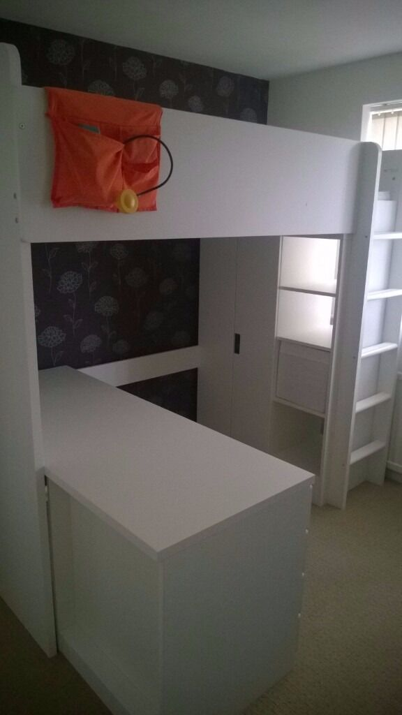 ikea stuva loft bed high sleeper 90 x 200 cm with desk and wardrobe white and birch in. Black Bedroom Furniture Sets. Home Design Ideas