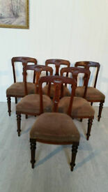 Set of Six Victorian Antique Dining Chairs