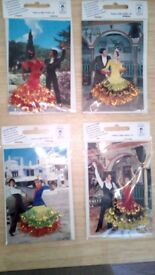 Rare spanish post cards 40 years since manufactured dresses having cloth