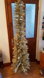 Slim/pencil 6ft gold coloured christmas tree