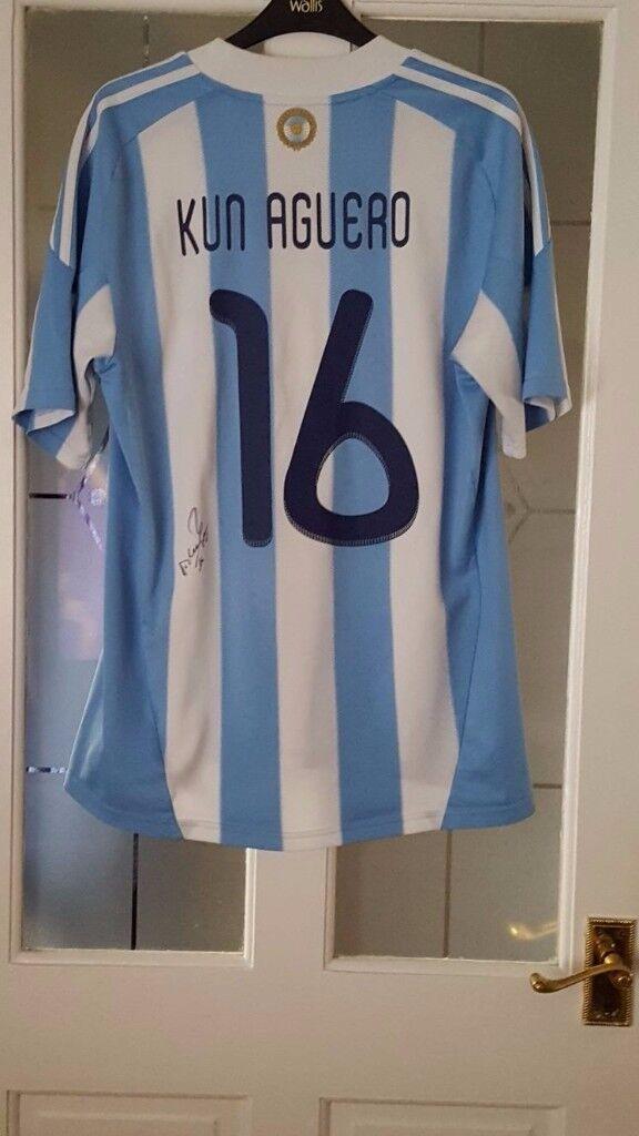 Signed Sergio Aguero Argentina Home Shirt  eb28f917a