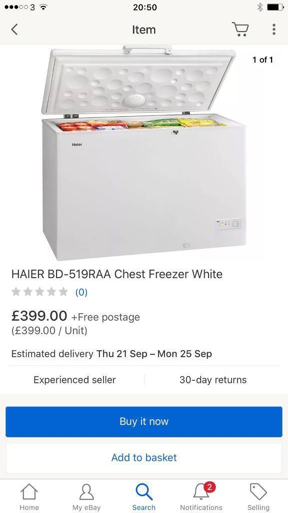 New ex display haierchest freezer Curry's customer damage and Skechers return £230