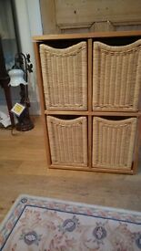2 Wicker basket storage units