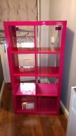 High gloss hot pink RARE ikea kallax/ expedit 8 cube storage unit