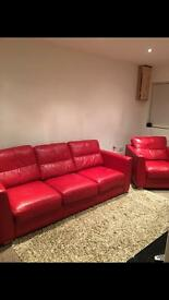 Red leather 3 seater sofa / settee with arm chair and foot stool