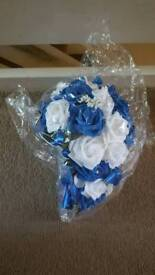 Beautiful wedding bouquet white and royal blue brand new and sealed