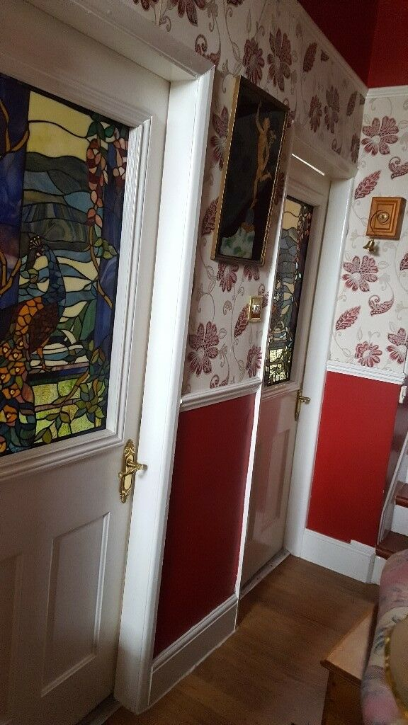 X2 Original Victorian Tiffany Stained Glass Internal Doors In