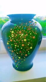 Customised green vase 32cm tall