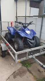 Apache rlx 100cc quad and trailer both in good condition and ready to go make a great prese t