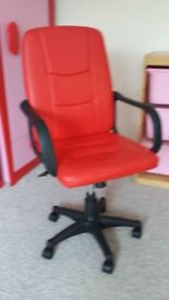 TWO RED LEATHER STYLE OFFICE CHAIRS