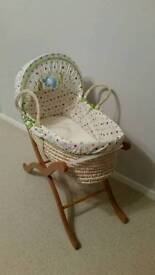Moses basket, stand and sheets