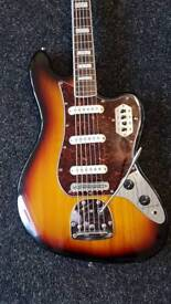 Squier bass 6 with hard case