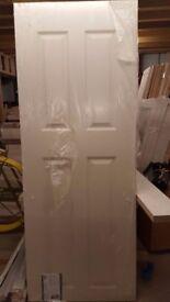 "Brand New: Premdor Internal 4 panel smooth Heavy Weight 2' 3"" doors (2 no. in total)"