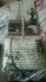 Paris cushion & canvas