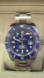 Rolex submariner blue face. brushed steel. Sweeping hands sapphire glass, waterproof, glide lock